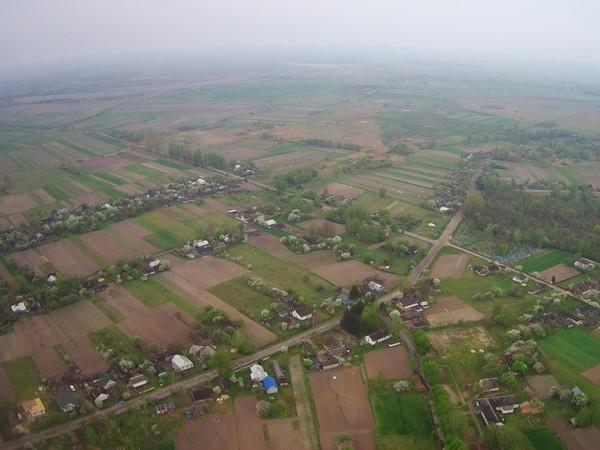Вид із висоти на село Солов'ї