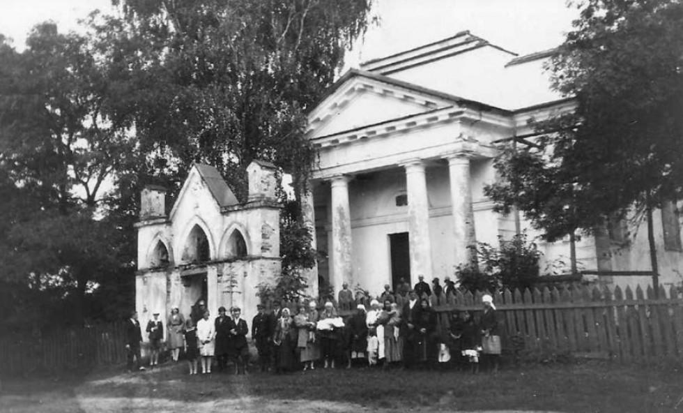 Ампіровий костел в селі Буцинь Старовижівського району, 1920-ті роки. Був збудований в 1810 і розібраний після Другої світової війни