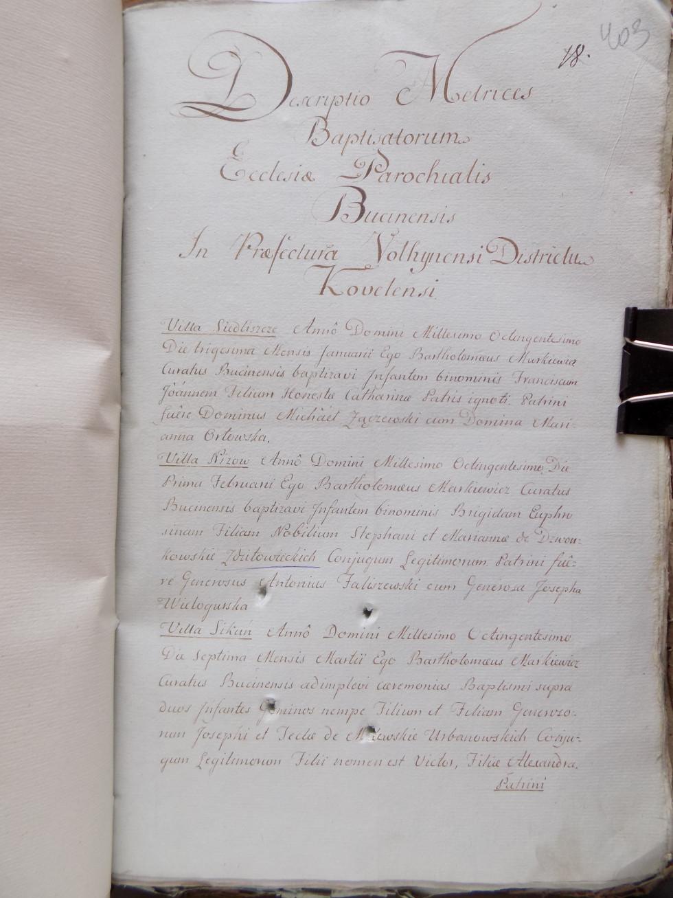 Титулка метричної книги костелу з с.Буцинь, 1800 рік